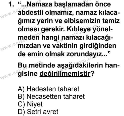 Fıkıh 2 Dersi 2013 - 2014 Yılı 2. Dönem Sınavı 1. Soru