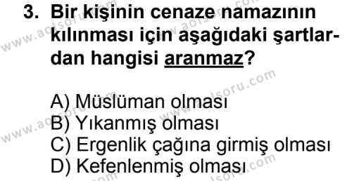 Fıkıh 2 Dersi 2013 - 2014 Yılı 2. Dönem Sınavı 3. Soru