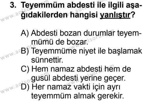 Fıkıh 2 Dersi 2013 - 2014 Yılı 3. Dönem Sınav Soruları 3. Soru