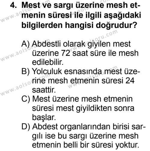 Fıkıh 2 Dersi 2013 - 2014 Yılı 3. Dönem Sınav Soruları 4. Soru