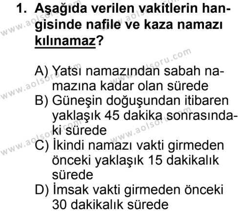 Fıkıh 2 Dersi 2015 - 2016 Yılı Ek Sınavı 1. Soru