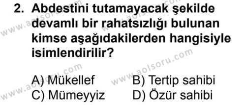 Fıkıh 2 Dersi 2017 - 2018 Yılı Ek Sınavı 2. Soru