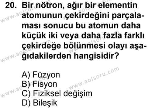 Fizik 1 Dersi 2013-2014 Yılı 1. Dönem Sınavı 20. Soru