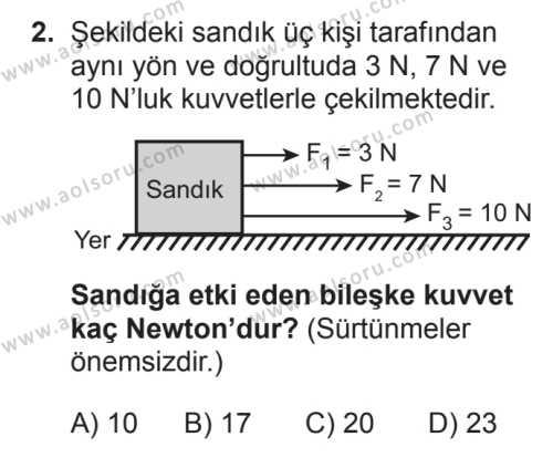 Fizik 1 Dersi 2017 - 2018 Yılı 2. Dönem Sınavı 2. Soru
