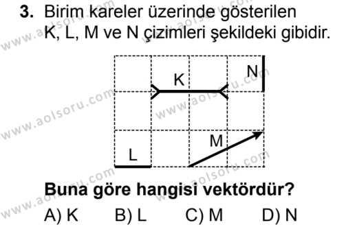 Fizik 1 Dersi 2017 - 2018 Yılı Ek Sınavı 3. Soru