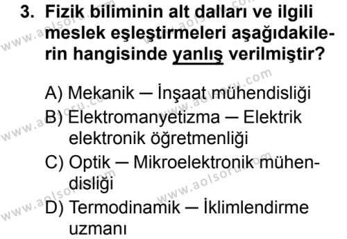 Fizik 1 Dersi 2018 - 2019 Yılı 1. Dönem Sınavı 3. Soru