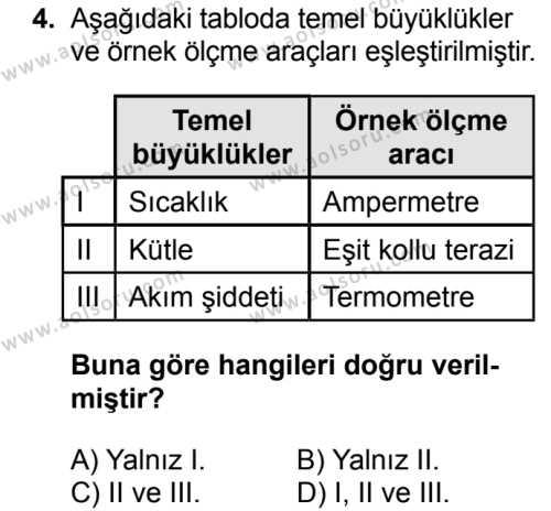 Fizik 1 Dersi 2018 - 2019 Yılı 1. Dönem Sınavı 4. Soru