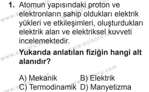 Fizik 1 Dersi 2018 - 2019 Yılı 2. Dönem Sınav Soruları 1. Soru
