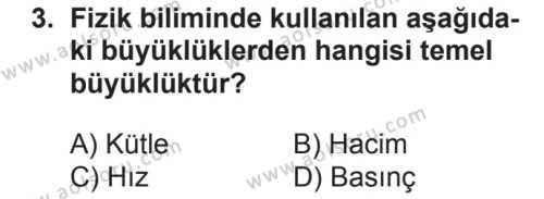 Fizik 1 Dersi 2018 - 2019 Yılı 2. Dönem Sınav Soruları 3. Soru