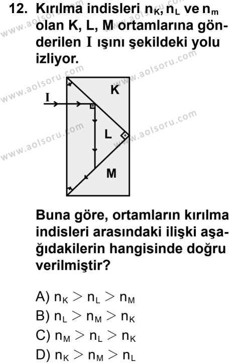 Fizik 2 Dersi 2012-2013 Yılı 1. Dönem Sınavı 12. Soru
