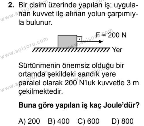 Fizik 2 Dersi 2017 - 2018 Yılı 2. Dönem Sınavı 2. Soru