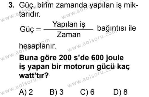 Fizik 2 Dersi 2018 - 2019 Yılı 1. Dönem Sınavı 3. Soru