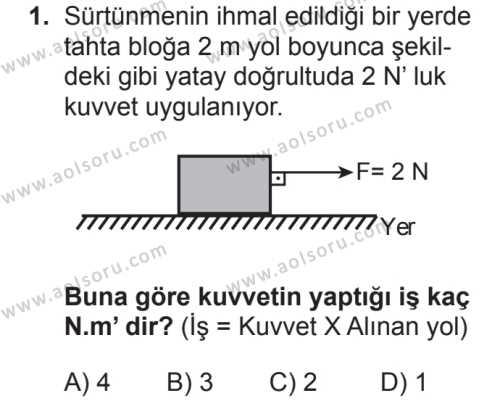 Fizik 2 Dersi 2018 - 2019 Yılı 2. Dönem Sınavı 1. Soru