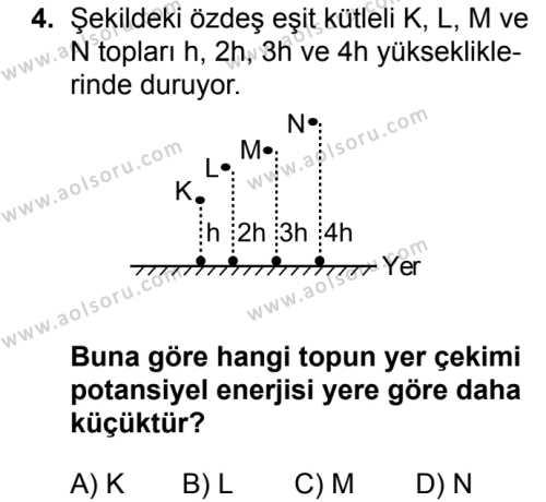 Fizik 2 Dersi 2018 - 2019 Yılı 3. Dönem Sınav Soruları 4. Soru