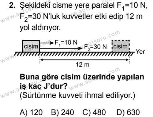 Fizik 2 Dersi 2018 - 2019 Yılı Ek Sınav Soruları 2. Soru
