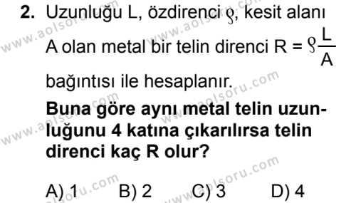 Fizik 3 Dersi 2018 - 2019 Yılı 1. Dönem Sınavı 2. Soru