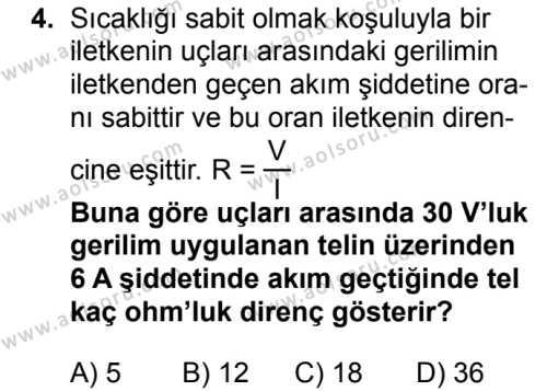Fizik 3 Dersi 2018 - 2019 Yılı 1. Dönem Sınavı 4. Soru