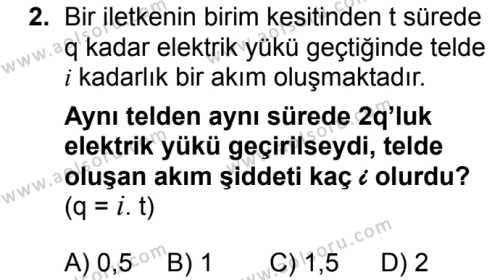 Fizik 3 Dersi 2018 - 2019 Yılı 3. Dönem Sınav Soruları 2. Soru
