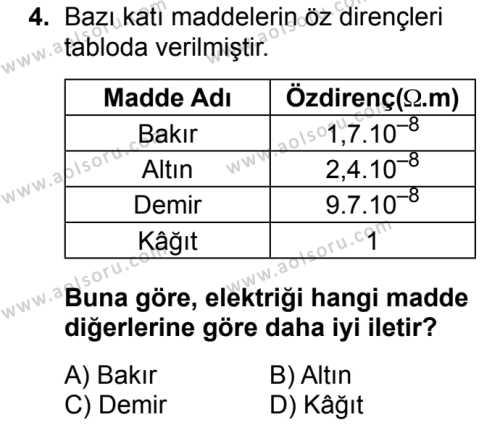 Fizik 3 Dersi 2018 - 2019 Yılı 3. Dönem Sınav Soruları 4. Soru