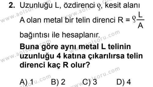 Fizik 3 Dersi 2018 - 2019 Yılı Ek Sınav Soruları 2. Soru