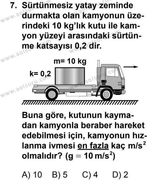 Fizik 4 Dersi 2012-2013 Yılı 1. Dönem Sınavı 7. Soru