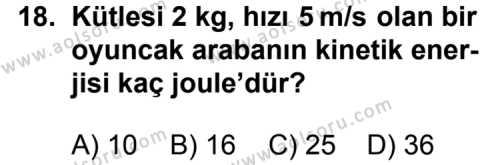 Fizik 4 Dersi 2012-2013 Yılı 1. Dönem Sınavı 18. Soru