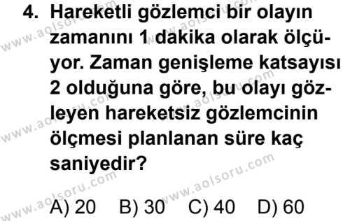 Fizik 4 Dersi 2013 - 2014 Yılı 3. Dönem Sınav Soruları 4. Soru