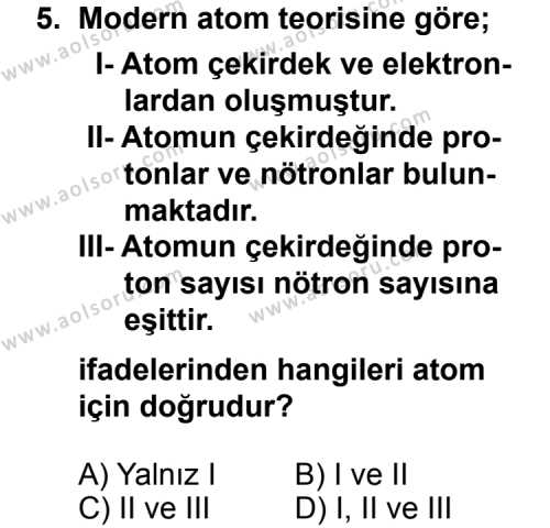 Fizik 4 Dersi 2014-2015 Yılı 1. Dönem Sınavı 5. Soru