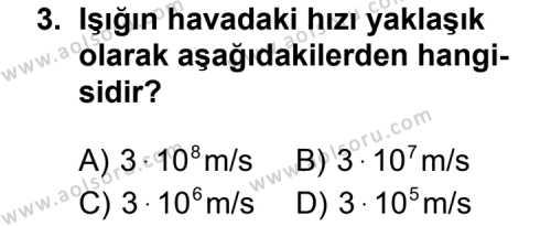 Fizik 4 Dersi 2014 - 2015 Yılı Ek Sınav Soruları 3. Soru