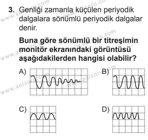 Fizik 4 Dersi 2017 - 2018 Yılı 3. Dönem Sınavı 3. Soru
