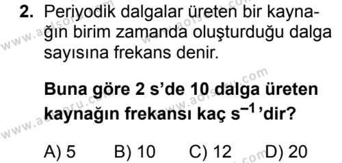 Fizik 4 Dersi 2017 - 2018 Yılı Ek Sınavı 2. Soru