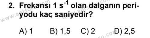 Fizik 4 Dersi 2018 - 2019 Yılı 1. Dönem Sınavı 2. Soru