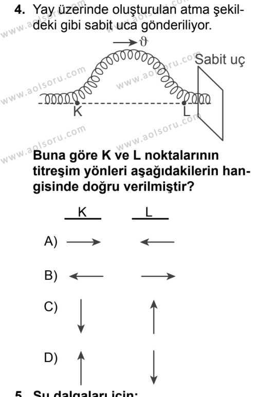 Fizik 4 Dersi 2018 - 2019 Yılı 1. Dönem Sınavı 4. Soru