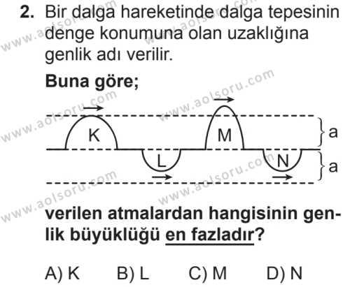 Fizik 4 Dersi 2018 - 2019 Yılı 2. Dönem Sınavı 2. Soru