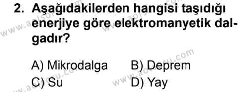 Fizik 4 Dersi 2018 - 2019 Yılı 3. Dönem Sınavı 2. Soru