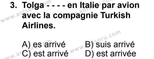Fransızca 1 Dersi 2014 - 2015 Yılı Ek Sınav Soruları 3. Soru