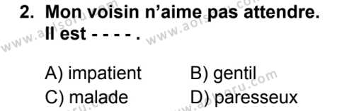 Fransızca 1 Dersi 2019 - 2020 Yılı 1. Dönem Sınav Soruları 2. Soru