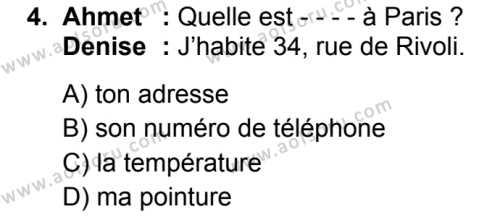 Fransızca 1 Dersi 2019 - 2020 Yılı 1. Dönem Sınav Soruları 4. Soru