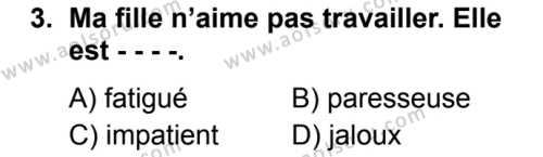 Fransızca 1 Dersi 2019 - 2020 Yılı 2. Dönem Sınav Soruları 3. Soru