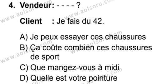 Fransızca 1 Dersi 2019 - 2020 Yılı 2. Dönem Sınav Soruları 4. Soru