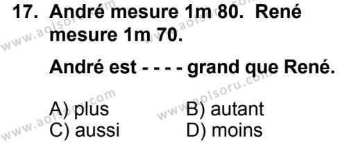 Fransızca 2 Dersi 2015-2016 Yılı 1. Dönem Sınavı 17. Soru