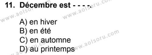 Fransızca 2 Dersi 2018-2019 Yılı 1. Dönem Sınavı 11. Soru