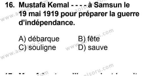 Fransızca 2 Dersi 2018-2019 Yılı 1. Dönem Sınavı 16. Soru