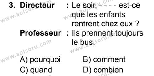 Fransızca 2 Dersi 2019 - 2020 Yılı 1. Dönem Sınav Soruları 3. Soru