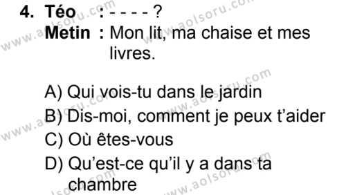 Fransızca 2 Dersi 2019 - 2020 Yılı 1. Dönem Sınav Soruları 4. Soru