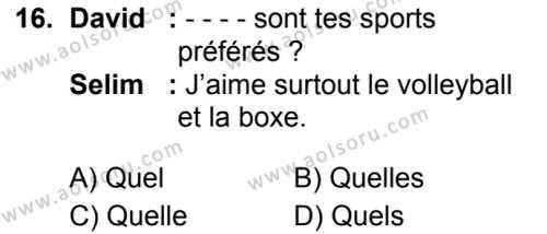 Fransızca 2 Dersi 2019-2020 Yılı 1. Dönem Sınavı 16. Soru