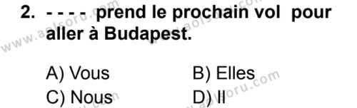 Fransızca 2 Dersi 2019 - 2020 Yılı 2. Dönem Sınav Soruları 2. Soru
