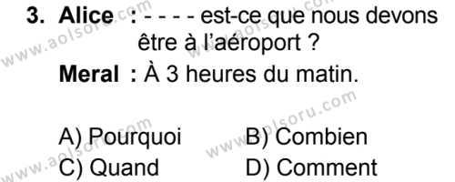 Fransızca 2 Dersi 2019 - 2020 Yılı 2. Dönem Sınav Soruları 3. Soru