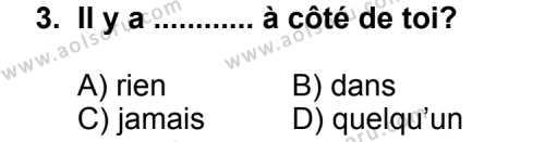 Fransızca 3 Dersi 2013 - 2014 Yılı 3. Dönem Sınav Soruları 3. Soru