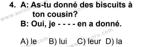 Fransızca 3 Dersi 2014 - 2015 Yılı Ek Sınav Soruları 4. Soru